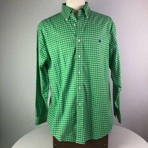 Brooks Brothers green white checkered shirt Sz. L